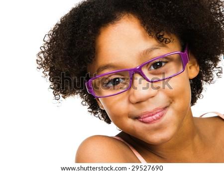 Beautiful girl wearing eyeglasses isolated over white - stock photo