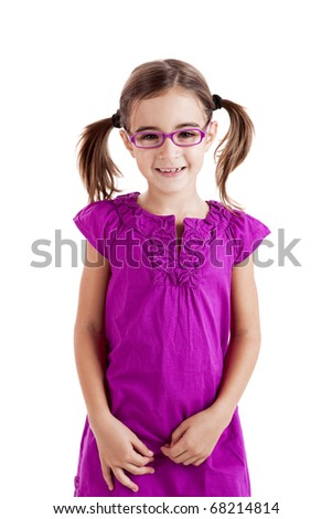 Beautiful girl wearing glasses isolated on white - stock photo