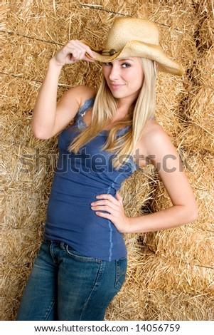 Beautiful Girl Wearing Hat - stock photo