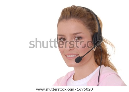 Beautiful girl wearing headset