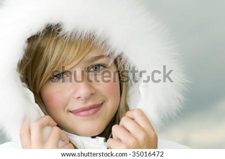 Beautiful girl winter portrait - stock photo