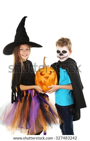 Beautiful girl witch and little boy with pumpkin on a white background