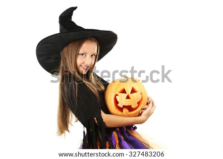 Beautiful girl witch with pumpkin on a white background - stock photo