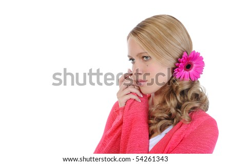 beautiful girl with a flower in her hair. Isolated on white background - stock photo