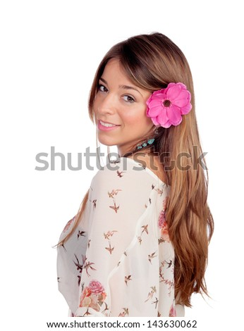 Beautiful girl with a flower on the head isolated on white background - stock photo