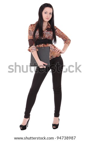 beautiful girl with a folder on a white background - stock photo