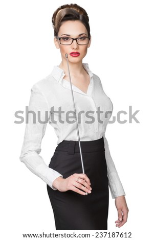 beautiful girl with a pointer in points - stock photo