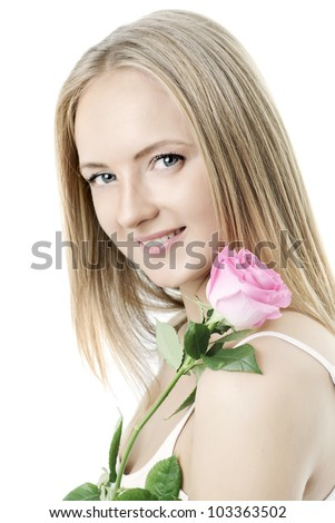 Beautiful girl  with a rose on a white background - stock photo