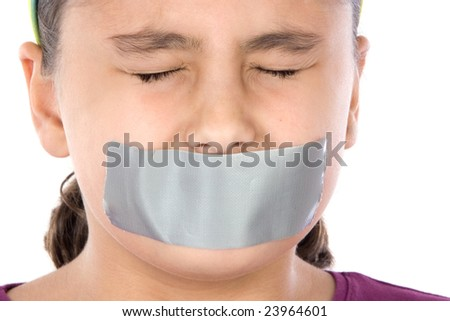 Beautiful girl with adhesive on her mouth and closed eyes isolated over white - stock photo