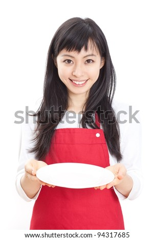 beautiful girl with an empty plate, isolated on white background - stock photo