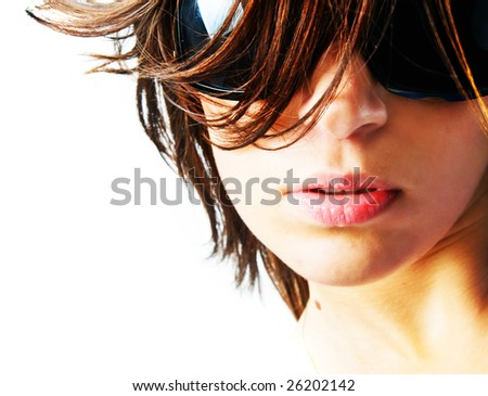 Beautiful girl with big glasses in sunlight - stock photo