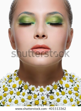 Beautiful girl with bright makeup isolated on white background. Fantasy girl portrait. Spring fairy portrait. Long hair - stock photo