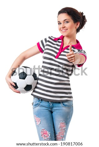 Beautiful girl with classic soccer ball, isolated on white background - stock photo