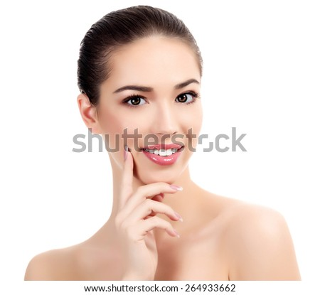 Beautiful girl with clean fresh skin, white background. - stock photo