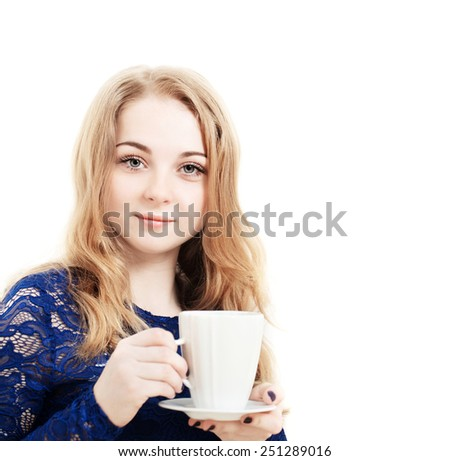 beautiful girl with coffee isolated on white