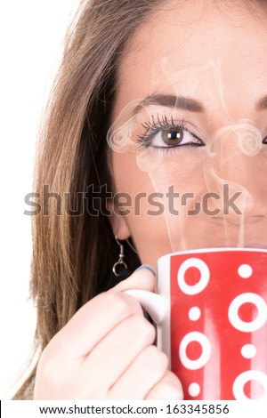 Beautiful Girl With Cup of Coffee and steam - stock photo