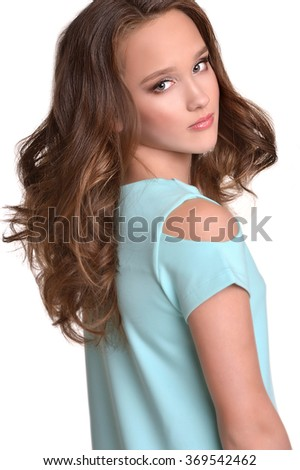 Beautiful girl with curly