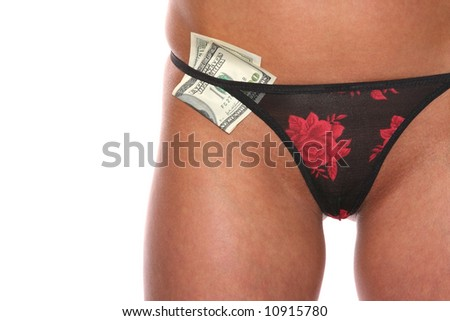 beautiful girl with dollar in cowards - stock photo