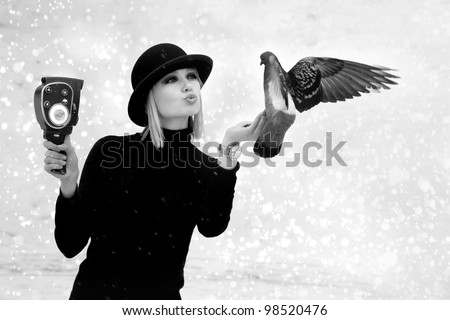 beautiful girl with dove - stock photo