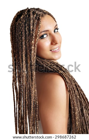 beautiful girl with dreadlocks hair  - stock photo