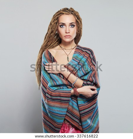 beautiful girl with dreadlocks. pretty young woman with braids African hairstyle hippie.cosmetic make-up - stock photo
