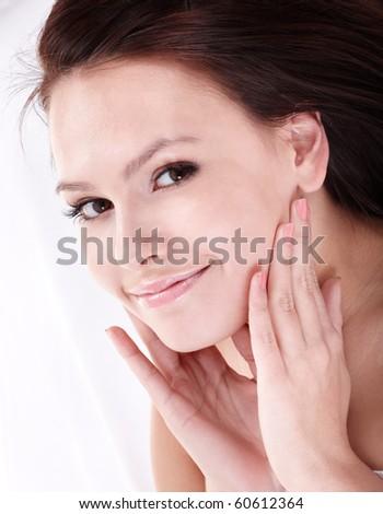 Beautiful girl with false eyelash. Isolated. - stock photo