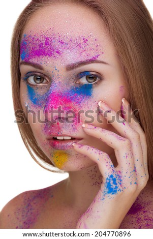 Beautiful girl with fashion make up in colours. Close up portrait with skin with texture. High end retouching. Cosmetics - stock photo