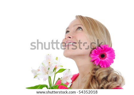 beautiful girl with flowers looking up. Isolated on white background - stock photo