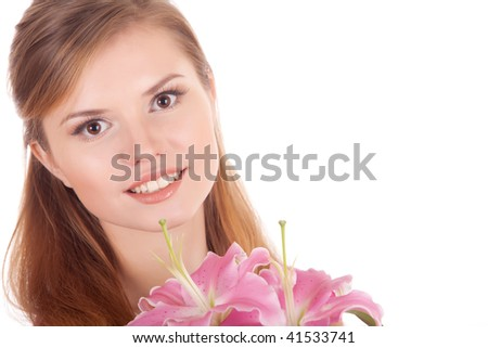 beautiful girl with flowers over white