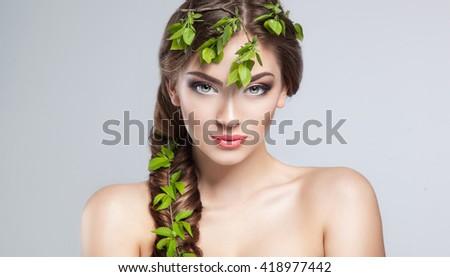 Beautiful Girl With fresh glamour make up. Beauty Model Woman Face. Perfect Skin. Professional Make-up.Makeup. Fashion Art - stock photo