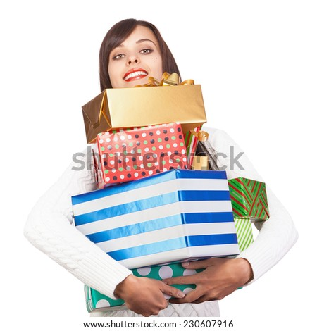 Beautiful girl with gifts isolated on white background
