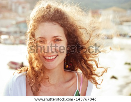 Beautiful girl with gold hair - stock photo