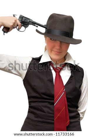 Beautiful girl with gun isolated over a white background - stock photo
