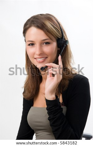 beautiful girl with headset - stock photo