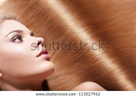 Beautiful girl with healthy hair - stock photo