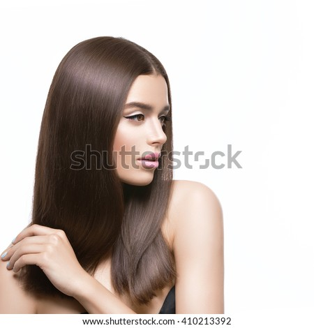 Beautiful girl with healthy shiny hair - stock photo