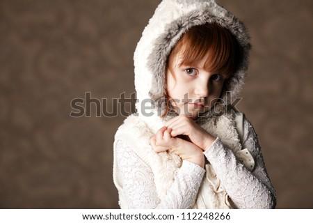 beautiful girl with hood - stock photo