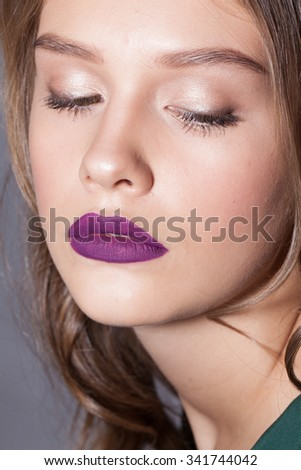beautiful girl with lilac lips