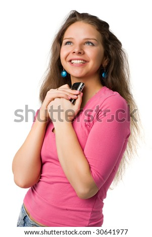 beautiful girl with long hairs hugs a cellphone, isolated on white - stock photo