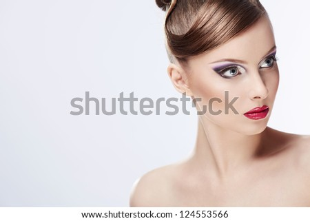 Beautiful girl with make-up - stock photo
