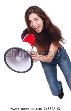 beautiful girl with megaphone - stock photo