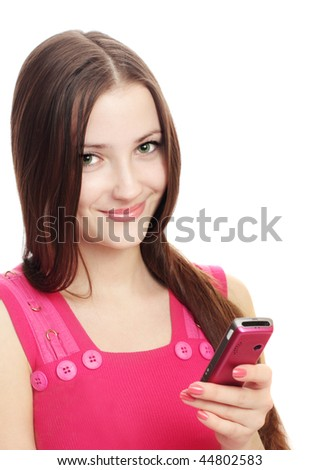 beautiful girl with mobile isolated on white - stock photo