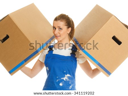 beautiful girl with moving boxes smiles - stock photo