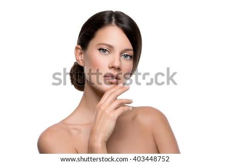 Beautiful girl with natural makeup - stock photo