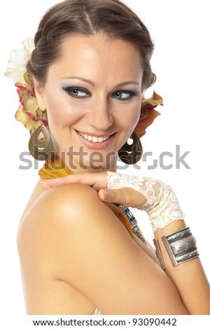 Beautiful girl with oriental jewelery, Isolated. - stock photo