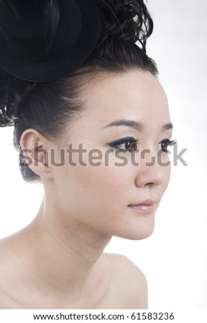 Beautiful girl with perfect makeup - stock photo
