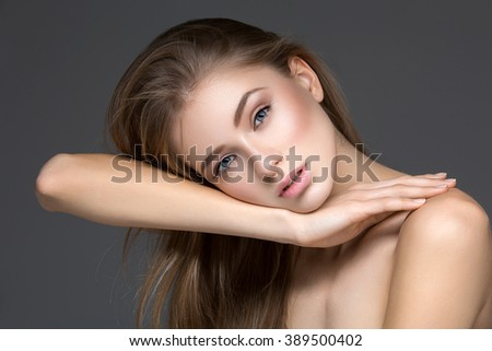Beautiful girl with perfect skin - stock photo