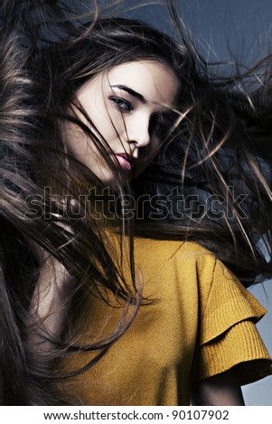 beautiful girl with perfect skin and long hair, developing