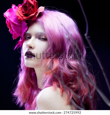 beautiful girl with pink hair,  among the branches