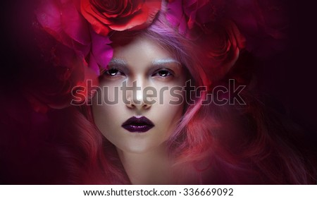 beautiful girl with pink hair  delightful bright image - stock photo